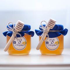 Брендированные баночки с медом для корпоративных подарков на 8 марта (пример)