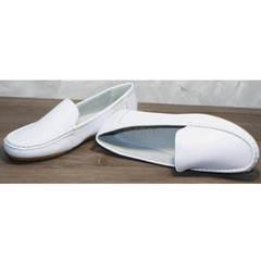 Белые кожаные мокасины женские AESD 902 White