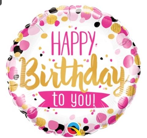 Шар круг с гелием Happy Birthday to you, 45 см
