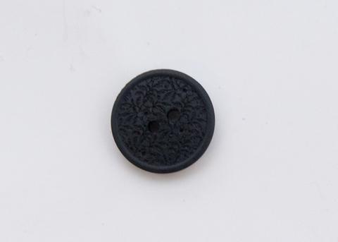 Пуговица с резными растениями, пластиковая, чёрная, 15 мм
