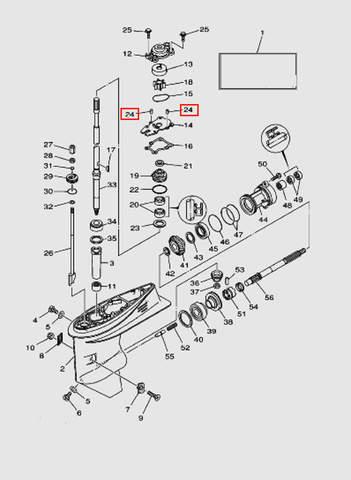 Направляющая корпуса помпы для лодочного мотора T40 Sea-PRO (23-24)