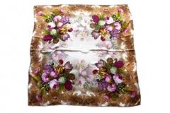 Итальянский платок из шелка коричневый с цветами 0351