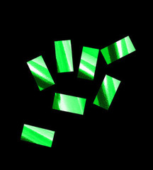 Конфетти металлизированное, Прямоугольное Зеленое, 1*2см, / 100 г. /