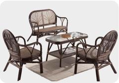 Комплект Екогама (Ёкогама (Yokohaina)) (Софа двухместная МК-6104-LB + 2 кресла МК-6103-LB + кофейный столик МК-6105-LB)) (МК-6112-LB)