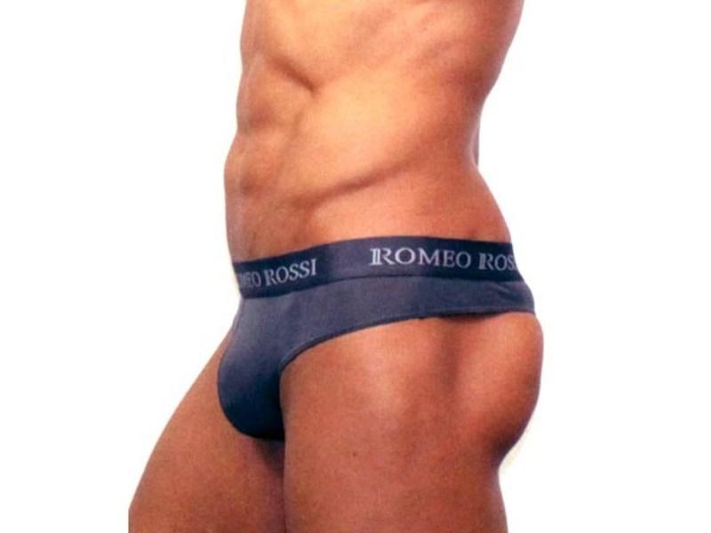 Мужские трусы стринги c резинкой Romeo Rossi темно-серые RR1006-04