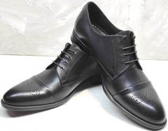 Дерби туфли под брюки мужские Ikoc 2249-1 Black Leather.