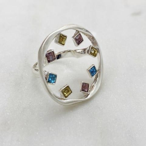 Кольцо Калейдоскоп (сатин, желтый, розовый, голубой)