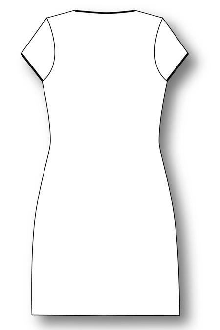 Лекала халата на молнии, с коротким рукавом типа «колпачёк» вид сзади