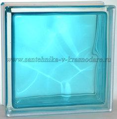 Купить стеклоблок бирюза волна окрашенный изнутри Vitrablok 19x19x8