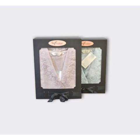 VICTORIA ВИКТОРИЯ лиловый махровый женский халат Soft Cotton (Турция)
