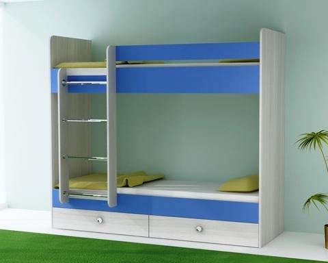 Кровать двухъярусная  ТЕНРИ с ящиками левая