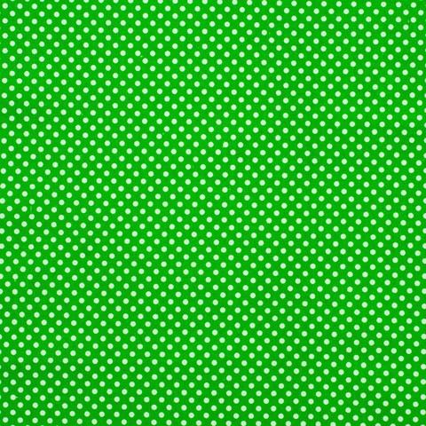 Ткань хлопковая белые горошки на зеленом, отрез 50*80 см