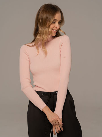 Женский свитер светло-розового цвета из 100% шерсти - фото 2
