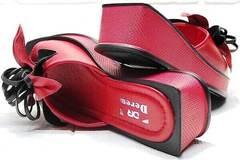 Женские шлёпанцы босоножки с квадратным носком. Красные босоножки шлепки на платформе. Кожаные босоножки на танкетке Derem RedBlack