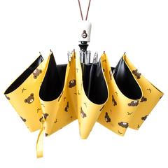 Женский облегченный зонт, с защитой от УФ, 8 спиц, принт- Мишки (желтый)