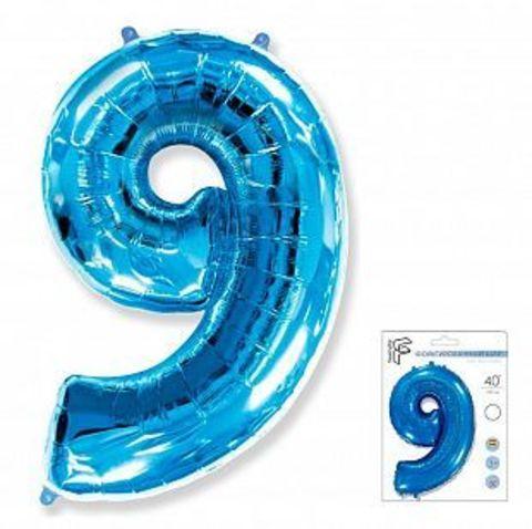 Цифра девять - синий