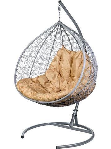 Двойное подвесное кресло Liverpool Twin Gray бежевая подушка
