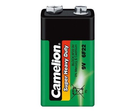 Батарейки Camelion Green 6F22, 9V крона (1/12)