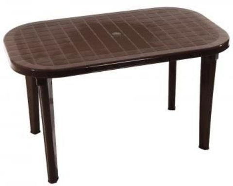 Пластиковый стол овальный шоколадный