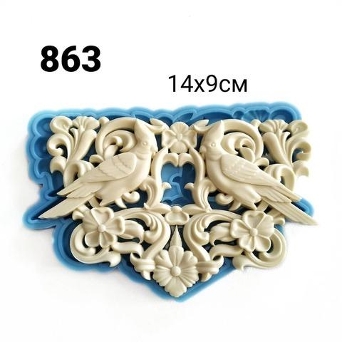 0863 Молд силиконовый. Орнамент райские птицы (большой)