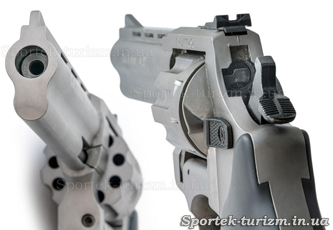 Вид на стовбур і затвор револьвера Сталкер під патрон Флобера 4 мм сріблястий.