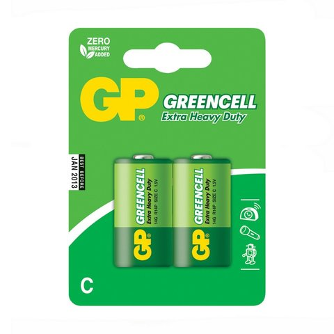 Батарейки GP 14G-S2 Greencell R14, C, трей 24/480