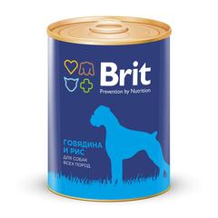 Консервы для собак, Brit Premium, с говядиной и рисом