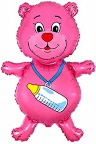 Фольгированный шар Мишка с соской розовый