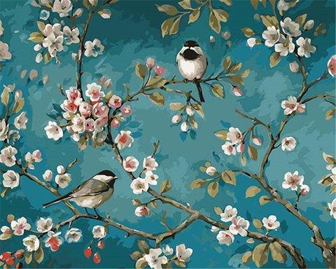 Картина раскраска по номерам 30x40 Птицы на цветущей ветке дерева