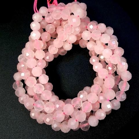 Бусины розовый кварц A+ гранёный 5,8 мм цена за 35 бусин (~19 см)