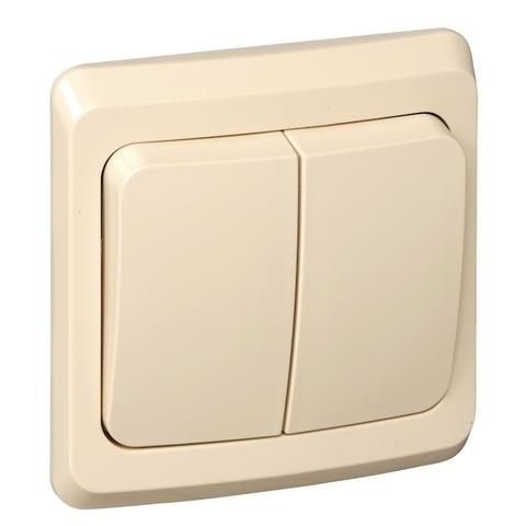 Выключатель двухклавишный (схема 5) 10 АХ 250 В. Цвет Кремовый. Schneider Electric(Шнайдер электрик). Этюд. BC10-002K