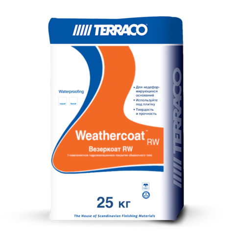 Terraco Weathercoat RW/Террако Везеркоат RW однокомпонентное цементное гидроизоляционное покрытие