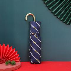 Суперлегкий зонт, ручка крюк, женский, с защитой от УФ, механика, 6 спиц (синий, полоска)