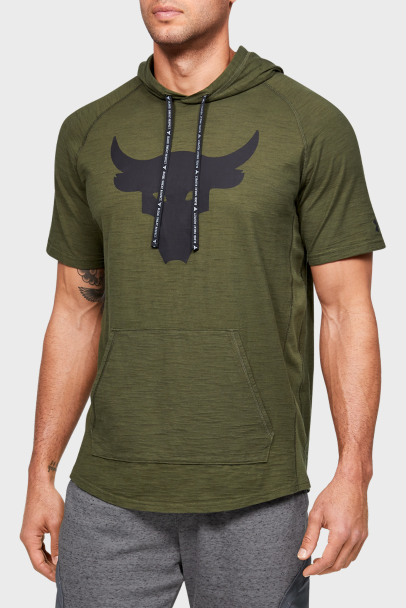 Мужская зеленая футболка Project Rock Charged Cotton SS Under Armour