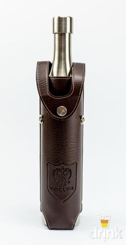 Фляга бутылка «Россия»,  в коричневом кожанном чехле, 800 мл