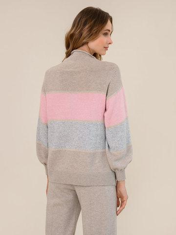 Женский свитер бежевого цвета из шерсти и кашемира в полоску - фото 4