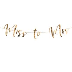 Гирлянда-буквы, Miss To Mrs, розовое золото, 76 см, 1 уп.