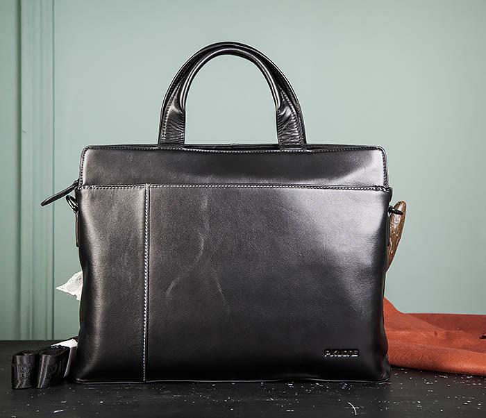 BAG486-1 Деловая кожаная мужская сумка с ремнем на плечо фото 02