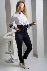 Светлана. Оригинальная комбинированная блуза с кружевом. Черный