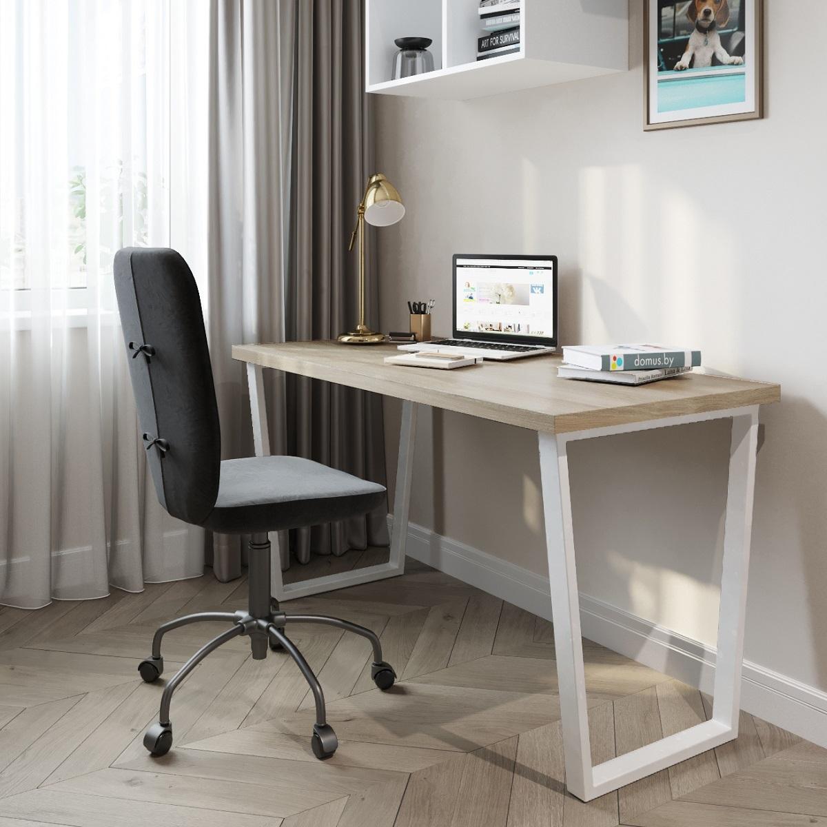 Письменный стол ДОМУС СП013 вяз светлый/металл белый