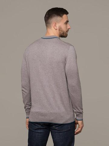Мужской джемпер цвета серый меланж из шерсти и шелка - фото 2