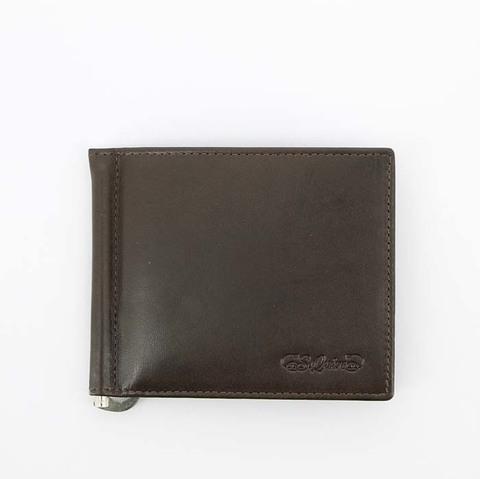 Портмоне S.Quire с клипом для денег, натуральная воловья кожа, коричневый, гладкая, 11x9 см