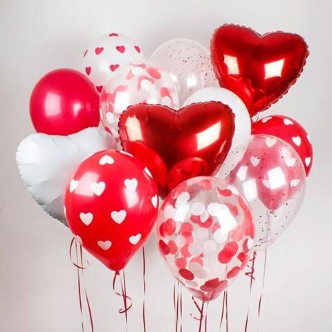 Сет воздушных шаров Красно-белые сердца