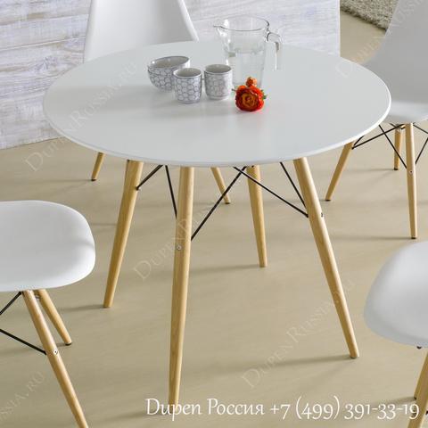 стулья DUPEN DC-231A, Круглый стол DUPEN RT-901 Белый