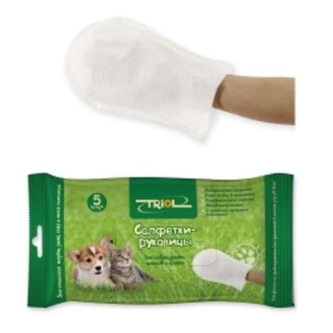Салфетки-рукавицы влажные для животных 5 шт.