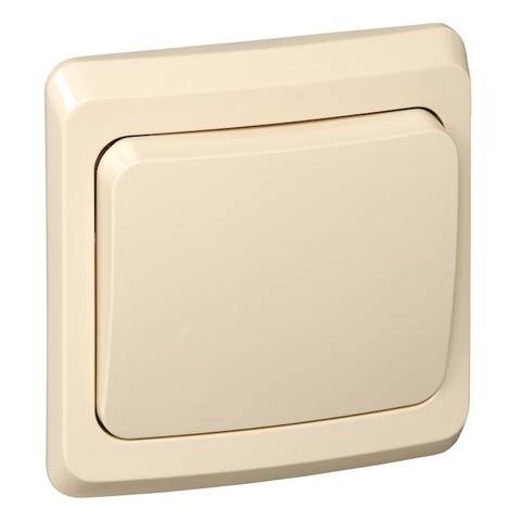 Выключатель/переключатель одноклавишный на 2 направления(проходной схема 6) 10 АХ 250 В. Цвет Кремовый. Schneider Electric(Шнайдер электрик). Этюд. BC10-004K