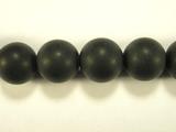 Бусина из оникса черного матового, шар гладкий 12мм
