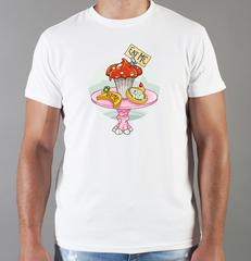 Футболка с принтом мультфильма Алиса в стране чудес (Alice's Adventures in Wonderland) белая 0013