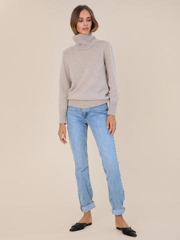 Женский свитер бежевого цвета из шерсти и кашемира - фото 5