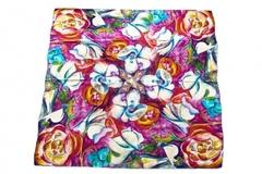 Итальянский платок из шелка разноцветный с цветами 0201
